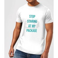 Stop Staring At My Package Men's Christmas T-Shirt - White - L - White