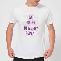 Eat Drink Be Merry Repeat Mens Christmas T-Shirt - White - XL - White