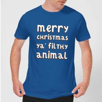 Merry Christmas Ya' Filthy Animal Men's Christmas T-Shirt - Royal Blue - M - royal blue