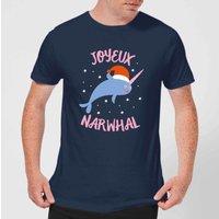 Joyeux Narwhal Mens Christmas T-Shirt - Navy - XL - Navy