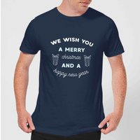 We Wish You A Merry Christmas and A Happy New Year Men's Christmas T-Shirt - Navy - XS - Navy