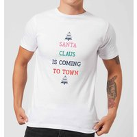 Santa Claus Is Coming To Town Men's Christmas T-Shirt - White - M - White