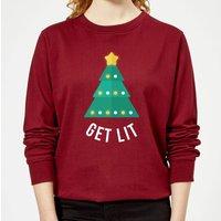 Get Lit Women's Christmas Sweatshirt - Burgundy - L - Burgundy