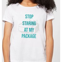 Stop Staring At My Package Women's Christmas T-Shirt - White - XXL - White
