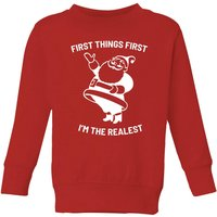 First Things First I'm The Realest Kids' Christmas Sweatshirt - Red - 7-8 Years - Red