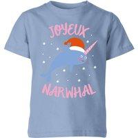 Joyeux Narwhal Kids' Christmas T-Shirt - Sky Blue - 3-4 Years - Sky blue