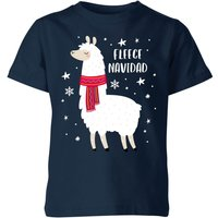 Fleece Navidad Kids' Christmas T-Shirt - Navy - 5-6 Years - Navy