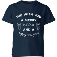 We Wish You A Merry Christmas and A Happy New Year Kids' Christmas T-Shirt - Navy - 9-10 Years - Nav