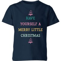 Have Yourself A Merry Little Christmas Kids' Christmas T-Shirt - Navy - 9-10 Years - Navy