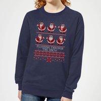 Flossing Through The Snow Women's Sweatshirt - Navy - L - Navy