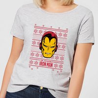 Marvel Iron Man Face Womens Christmas T-Shirt - Grey - L - Grey