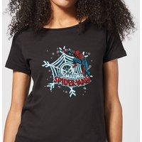 Marvel The Amazing Spider-Man Snowflake Web Women's Christmas T-Shirt - Black - L - Black
