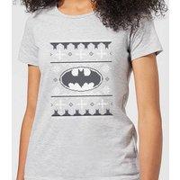 DC Comics Batman Knit Women's Christmas T-Shirt in Grey - 4XL - Grey