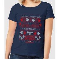 National Lampoon Merry Christmas Knit Women's Christmas T-Shirt - Navy - M - Navy