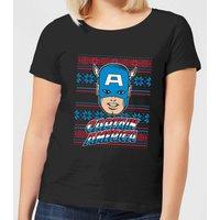 Marvel Captain America Face Women's Christmas T-Shirt - Black - S - Black