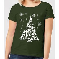 Star Wars Character Christmas Tree Women's Christmas T-Shirt - Forest Green - L - Forest Green