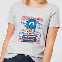Marvel Captain America Face Women's Christmas T-Shirt - Grey - XXL - Grey