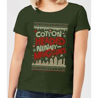 Elf Cotton-Headed-Ninny-Muggins Knit Women's Christmas T-Shirt - Forest Green - S - Forest Green
