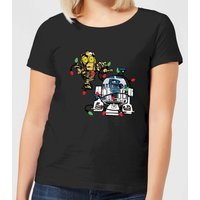Star Wars Tangled Fairy Lights Droids Women's Christmas T-Shirt - Black - M - Black