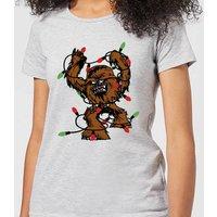 Star Wars Tangled Fairy Lights Chewbacca Women's Christmas T-Shirt - Grey - S - Grey