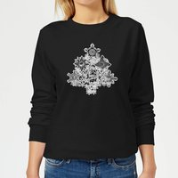 Marvel Shields Snowflakes Women's Christmas Sweatshirt - Black - S - Black