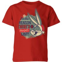 Looney Tunes I'm The Reason There Is A Naughty List Kids' Christmas T-Shirt - Red - 9-10 Years - Red