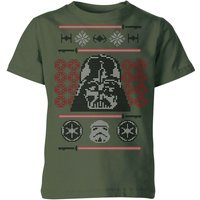 Star Wars Darth Vader Face Knit Kids' Christmas T-Shirt - Forest Green - 7-8 Years - Forest Green