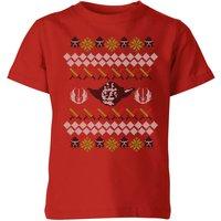 Star Wars Yoda Knit Kids' Christmas T-Shirt - Red - 9-10 Years - Red