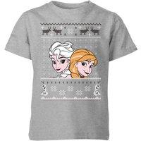Disney Frozen Elsa and Anna Kids' Christmas T-Shirt - Grey - 7-8 Years - Grey