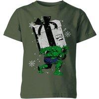 Marvel The Incredible Hulk Christmas Present Kids' Christmas T-Shirt - Forest Green - 7-8 Years