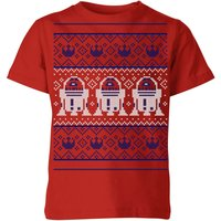 Star Wars R2-D2 Knit Kids' Christmas T-Shirt - Red - 9-10 Years - Red