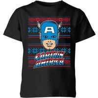 Marvel Captain America Face Kids' Christmas T-Shirt - Black - 3-4 Years - Black
