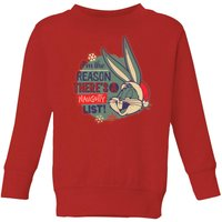Looney Tunes I'm The Reason There Is A Naughty List Kids' Christmas Sweatshirt - Red - 3-4 Years