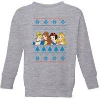 Disney Princess Faces Kids' Christmas Sweatshirt - Grey - 3-4 Years - Grey
