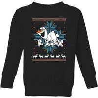 Disney Frozen Olaf and Snowmen Kids' Christmas Sweatshirt - Black - 9-10 Years - Black