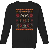 Harry Potter Knit Kids' Christmas Sweatshirt - Black - 11-12 Years - Black