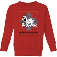 Disney Frozen Olaf and Snowmen Kids' Christmas Sweatshirt - Red - 5-6 Years - Red