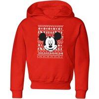 Disney Mickey Face Kids' Christmas Hoodie - Red - 9-10 Years - Red