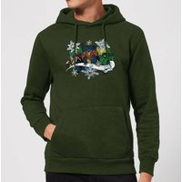 Marvel Thor Iron Man Hulk Snowflake Christmas Hoodie - Forest Green - XL - Forest Green