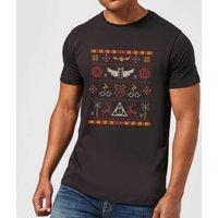 Harry Potter Knit Mens Christmas T-Shirt - Black - S - Black