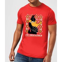 Looney Tunes Daffy Duck Knit Men's Christmas T-Shirt - Red - M