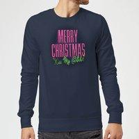 National Lampoon Merry Christmas (Kiss My @$$) Christmas Sweatshirt - Navy - S - Navy