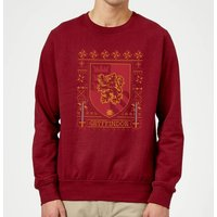 Harry Potter Gryffindor Crest Christmas Sweatshirt - Burgundy - S
