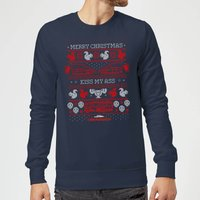 National Lampoon Merry Christmas Knit Christmas Sweatshirt - Navy - XL - Navy