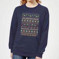 Nintendo Super Mario Yoshi Have A Merry Mario Christmas Women's Sweatshirt - Navy - XS