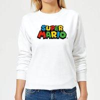 Nintendo Super Mario Colour Logo Women's Sweatshirt - White - XXL - White