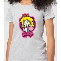 Nintendo Super Mario Peach Kanji Women's T-Shirt - Grey - 5XL - Grey