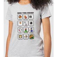Nintendo Super Mario Know Your Enemies Women's T-Shirt - Grey - S - Grey