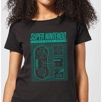 Nintendo Super Nintendo Entertainment System Blueprint Women's T-Shirt - Black - L - Black