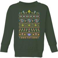 Nintendo Super Mario Retro Kids' Christmas Sweatshirt - Forest Green - 9-10 Years - Forest Green